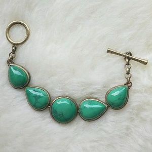 Lucky Brand Boho Green and Gold Bracelet
